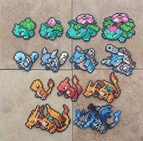 Gen I Starters - Pokemon Perler Bead Sprites by MaddogsCreations