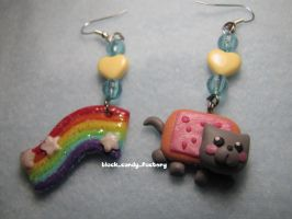 Nyan Cat Earrings by gothic-yuna