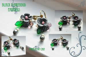 Black Flowerbud Earrings by tanyquil