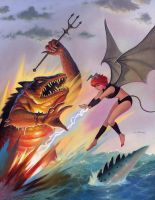 Pixie Fights A Zilla by AlanGutierrezArt