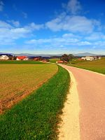 A road, a village and summer season by patrickjobst