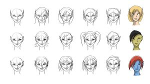Warcraft Hairstyles Sketches by Obhan