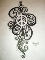 Negative Space Peace Sign Design by LinsCatMeow