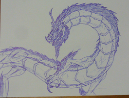 dragon in blue pen by Angryspacecrab