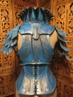 Women's Leather Armor, rear view- Blue Jay by SavagePunkStudio