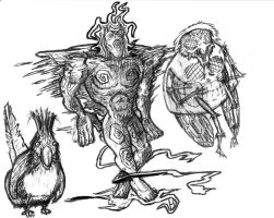 Silence Sketches Familiars 1 B and W by racingspoons