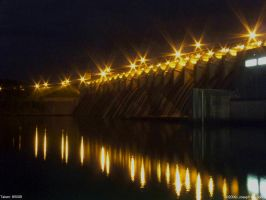 Clark's hill dam at night 1 by Joseph-W-Johns