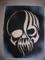 tribal skull stencil by BlackStarSheep