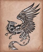 Silver gryphon - tattoo design by AlviaAlcedo