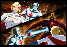 Powergirl and Captain Atom  - Flame of Py'tar (5) by adamantis