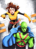 Shadowcat/Martian Manhunter commission. by LangleyEffect