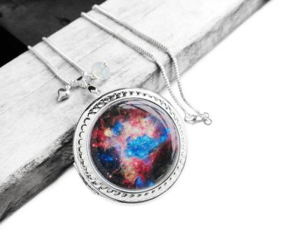 Colorful Supernova Explosion Locket Necklace by crystaland