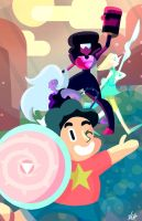 Steven and the Crystal Gems! by starlightv
