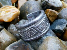 Key Pattern Stainless Steel Ring by Wabbit-t3h