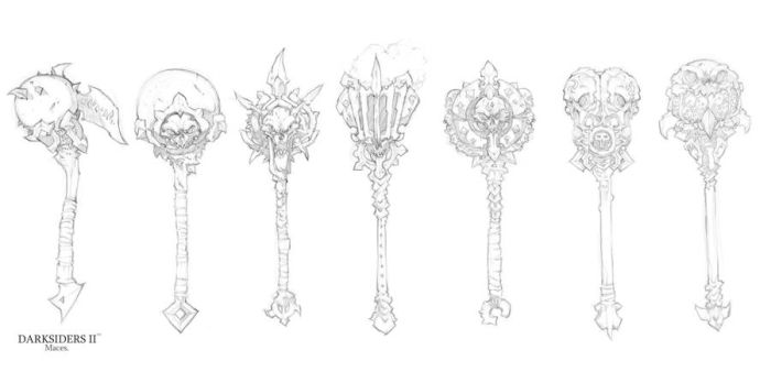 Darksiders II weapon concepts Maces 2 by DawidFrederik