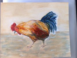 Chicken painting in acrylic by Z0la25