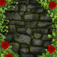 Brick wall and a bush of roses by InkQueenPilus