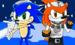 The Two Hedgehog Heroes - Sonic and Yuki by Dengen-Toshiko