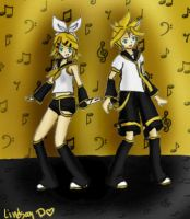 Music is the stage: Rin and Len by dinoblood