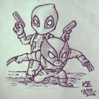 Chibi Deadpool and Wolverine by KAVIZO