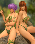 Kasumi and Ayane sitting on tree branch (toolbag) by RadiantEld