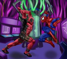 Spiderman V Deadpool by joserodarte
