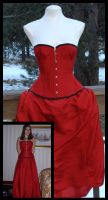 Red Silk Corset by WaistedSpace