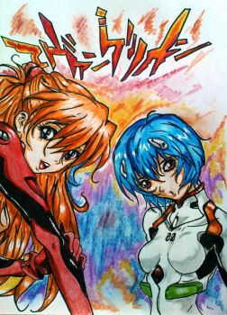 Asuka and Rei by Tomek2289