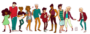 (More Than) Seven Demigods (and an Einherji) by Abiigaee