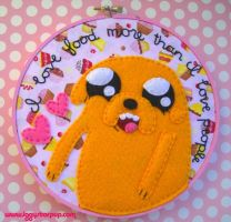 Jake the Dog embroidery pink version by iggystarpup