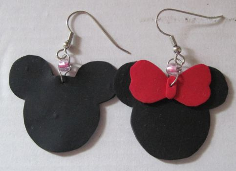 Disney, Minnie and Mickey Earrings by puppy-lou