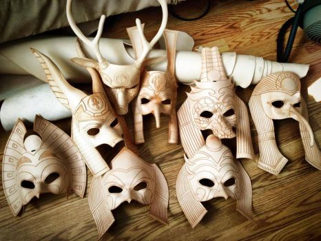 Leather Masks WIP - pre Paint job by b3designsllc