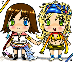 FFX-2 - Chibi Yuna and Rikku by smzeldarules