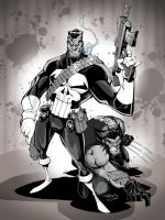 PUNISHER and WOLVERINE by CThompsonArt