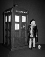 1st Doctor and TARDIS B-W by CyberDrone