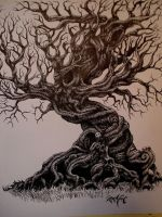 hatched tree by JWheelwrighttattoos