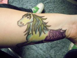 Sharpie Tattoo: Hippocamp without Poet's Narcissus by bueatiful-failure