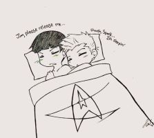 Kirk+Spock : Shoosh by omggetshotintheface