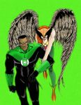 Green Lantern and Hawkgirl by acidious666