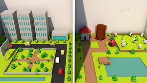 Low Poly: City V Country by biwsantang
