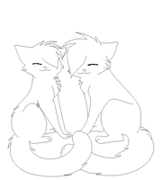 Cat couple lineart by poker-star