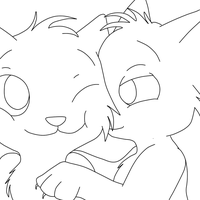 Couple Cat Lineart by SummersBlossom