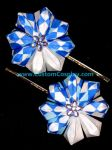 Blue checkered kanzashi by The-Cute-Storm