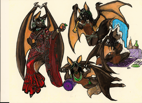 Fruit Bat Commission Progress: Coloring{retouched] by InkmanStudios