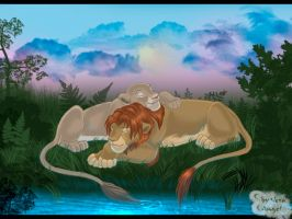 sleeping lions by Light-Angel-Vera