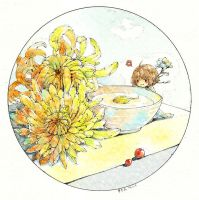 Chrysanthemums and Sake Watercolor by Zaozi-Nanaly
