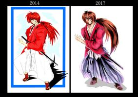 kenshin before then now. by Penzoom