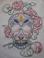 Sugar Skull Hand Embroidery by debra-e