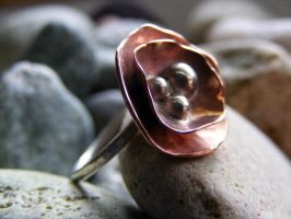 Copper Flower Ring by MoonLitCreations