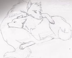 Wolf cuddle by LoneWolfTori